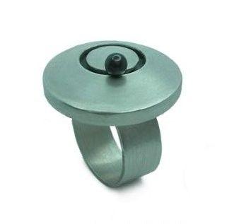 Zilver draaiende parel ring