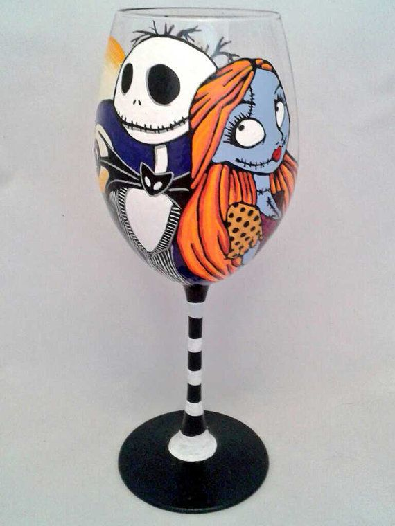 Jack Skellington and Sally from The Nightmare Before Christmas Design Large Wine Glass