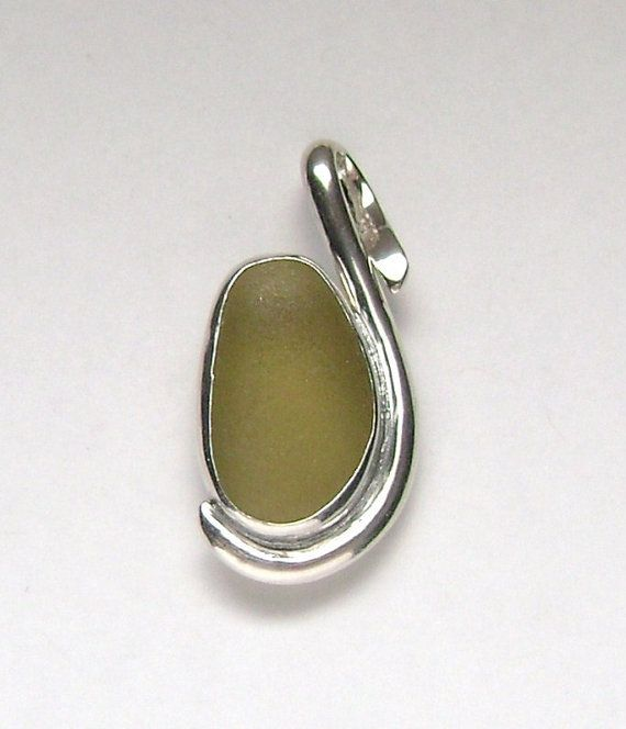 Sea Glass Jewelry  Sterling Olive Green Sea Glass by SignetureLine, $80.00