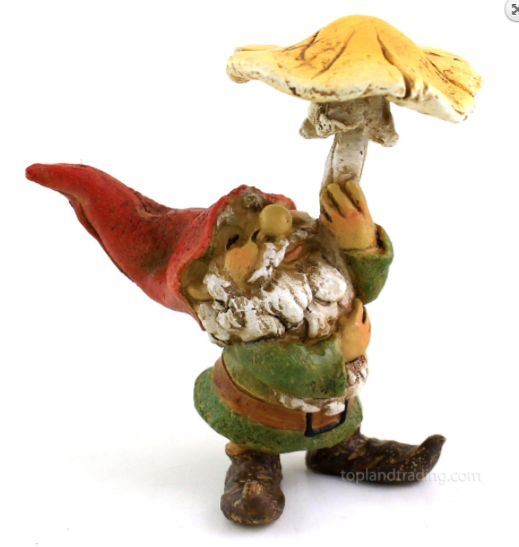 Quirkly little gnome figurine & toadstool umbrella