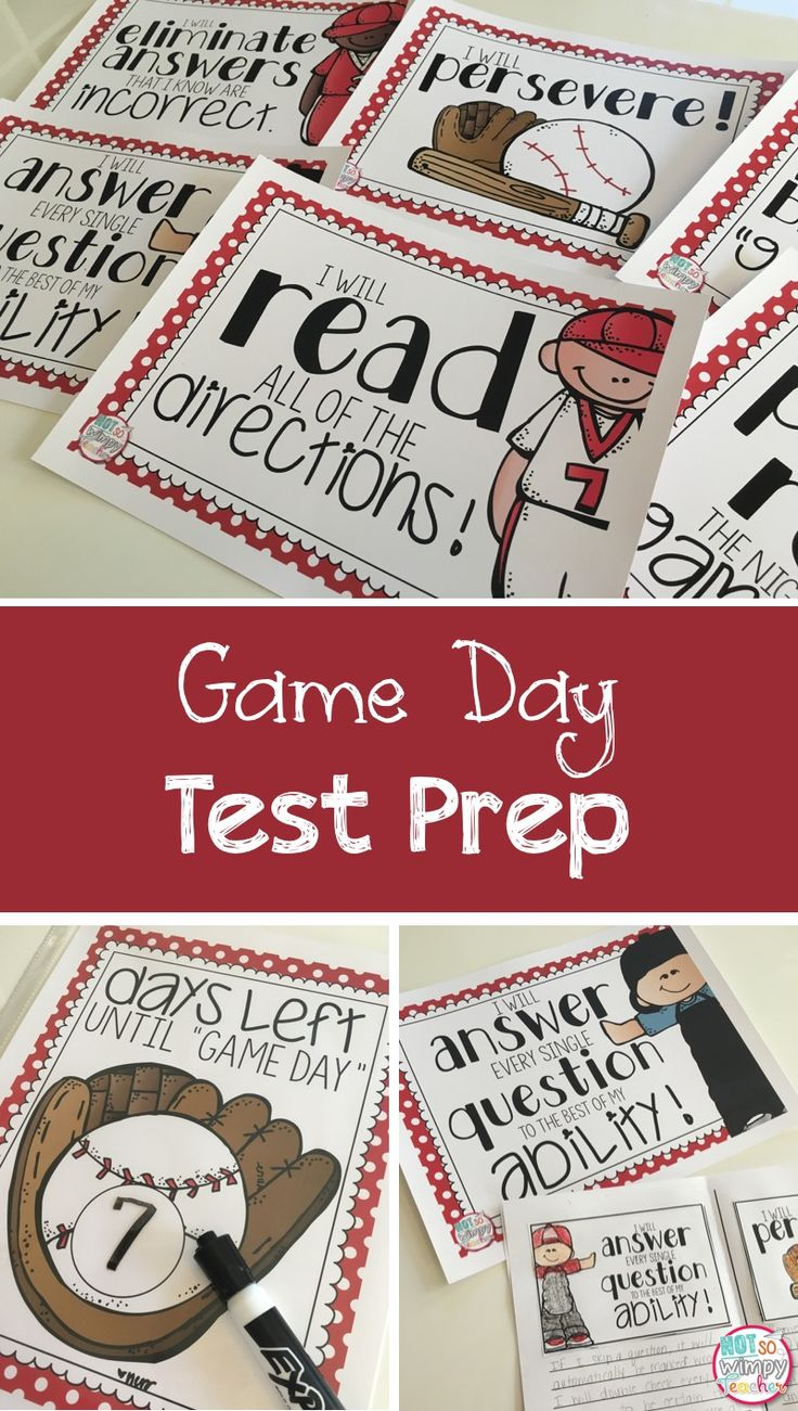 """Make test prep fun with a baseball theme! Students will go through spring training to prepare for """"Game Day."""" They will make goals and review test taking skills while making crafts!"""