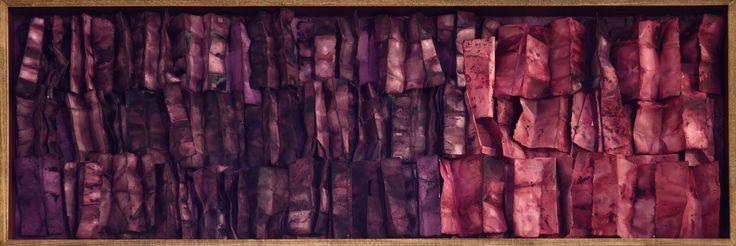 Renata Boero:  Germinazione. Sequenze fiori di carta, 2014, germinazione di sostanze naturali su carta fatta a mano, cm. 60x180