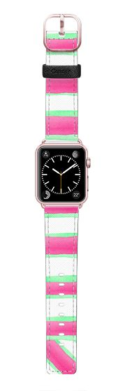 Casetify Apple Watch Band (42mm) Saffiano Leather Watch Band - Peppermint Pink by Amaya #Casetify @casetify #tech #fashion #stripes #design #CasetifyArtist #pink #mint #watch #fashionlovers