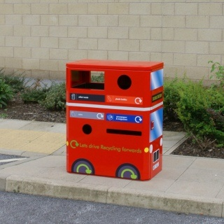 The Double Decker Recycling Unit has been specially designed to collect 4 waste streams in one unit.