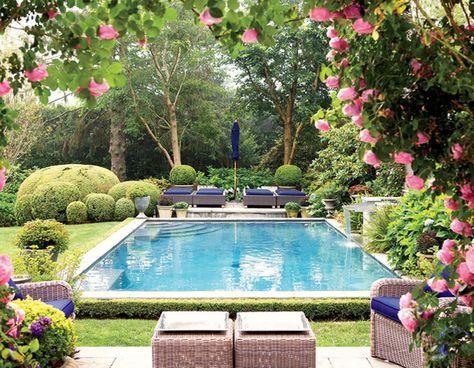 El jardin: El jardin está detras de la cocina. La piscina/la mesa: La piscina detras de la mesa.
