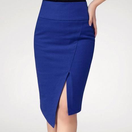 Женщины свободного покроя тонкий Большой размер 3XS-8XL сексуальный раскол миди юбка карандаш длиной до колен офис дамы асимметричный Bodycon щели обернуть юбки(China (Mainland))