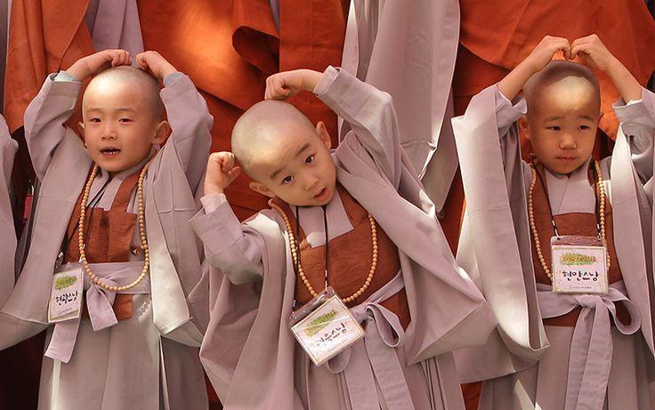 Seoul, South Korea: Children attend Buddhist Monks ceremony
