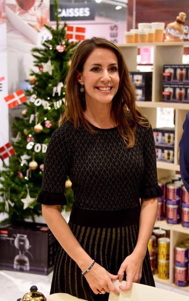 15 November 2017 - Princess Marie opens Christmas season of Paris BHV Marais - dress by Hugo Boss