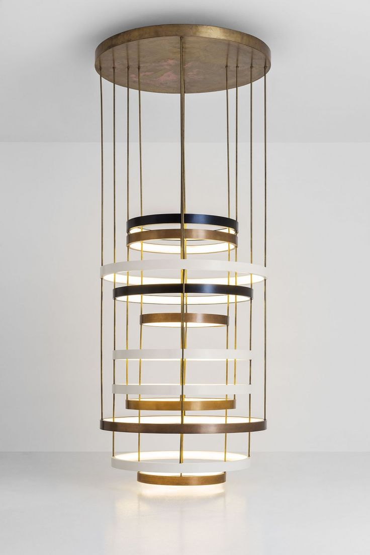 Dimore Studio - Chandelier of layered bands, multiple metal finishes