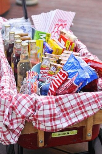 outdoor movie night concession stand - future birthday party idea