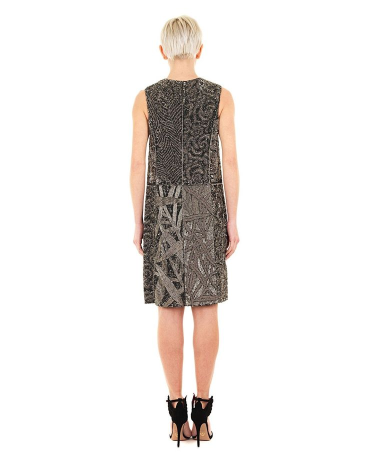 PEACHOO+KREJBERG -50% Silver dress crew-neck  sleeveless  totally embroidered with metals  front zipper closure  100% SE