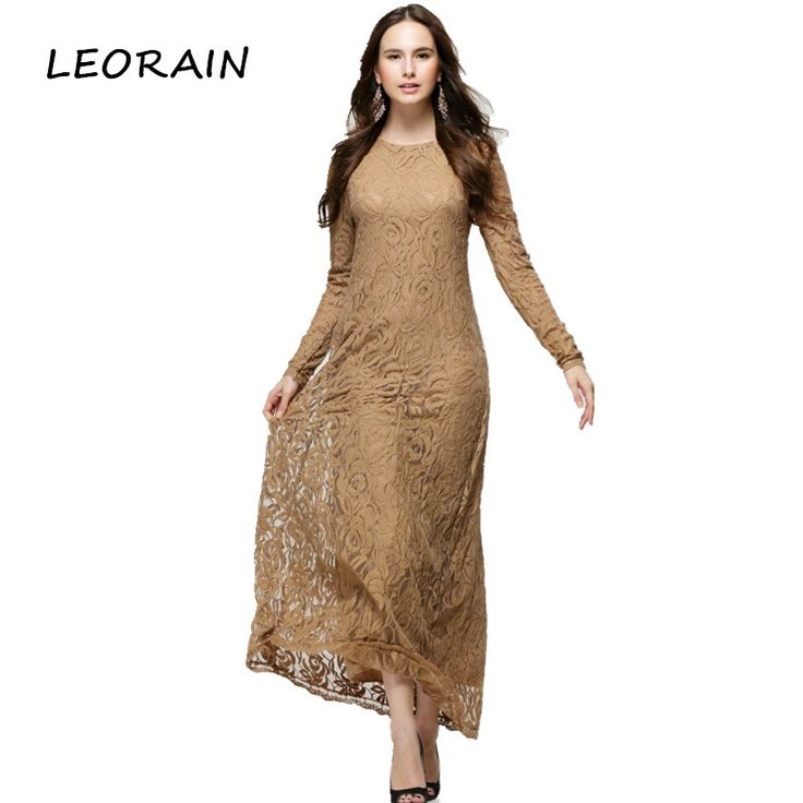 2017 Middle East Clothing Kaftan Abaya Jilbab Islamic Muslim Women Long Sleeve Lace Vintage Maxi Dress #Affiliate