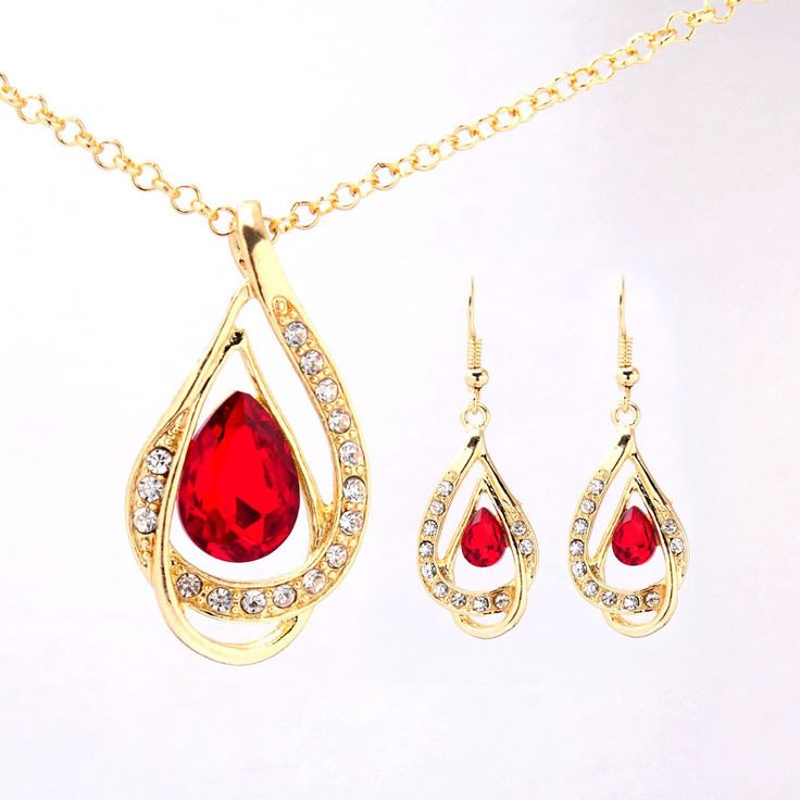 Free shipping Women Crystal Jewelry Sets  Gold Plated Chain Austrian Crystal  Necklace+Earrings Set Bridal Jewelry Gift
