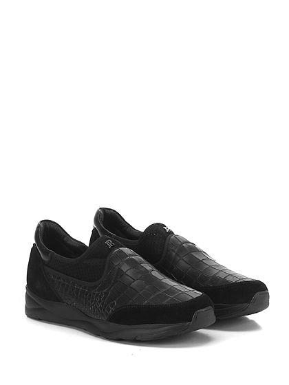 JOHN RICHMOND - Sneakers - Uomo - Sneaker in camoscio, pelle stampa coccodrillo e tessuto elasticizzato forato con suola in gomma, tacco 40, platform 25 con battuta 15. - BLACK - € 265.00