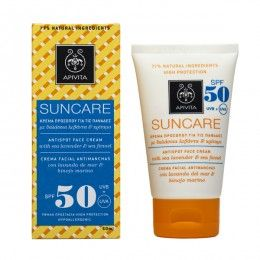 SUNCARE Antispot Face Cream SPF 50with sea fennel & sea lavender #High Protection against UVA and UVB radiation #Discoloration #Prevention of Brown Spots Sun care face cream (SPF 50 and UVA 26) with patented propolis that combats photoaging, treats brown spots, discolorations and freckles, while preventing the formation of new ones. Suitable for skin that suffers from or has a tendency to develop discolorations. Ideal for use during pregnancy or menopause. Read more at www.apivita.com
