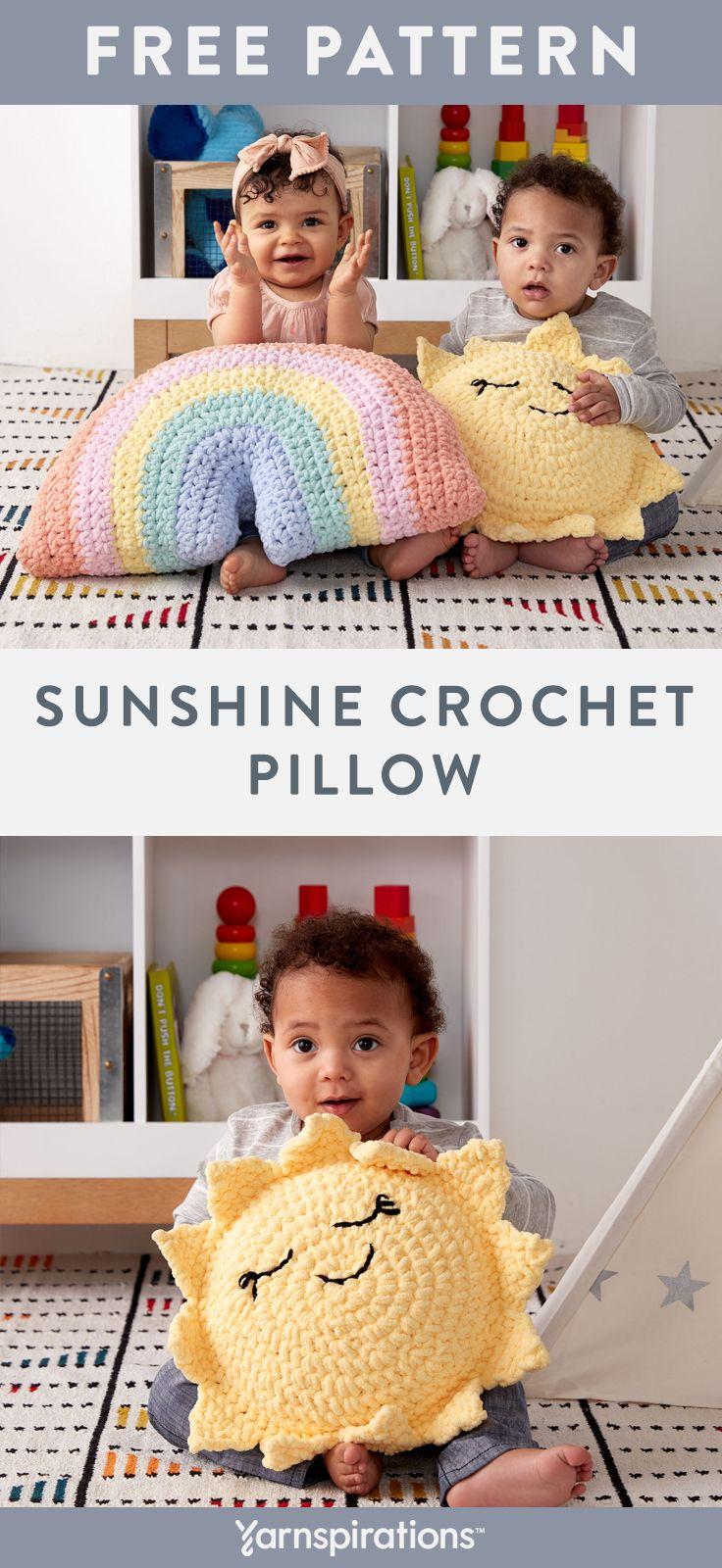 Kostenlose Häkelanleitung   Bernat Babydecke Sunshine Crochet Pillow   #Garnspirat …   – Häkelideen