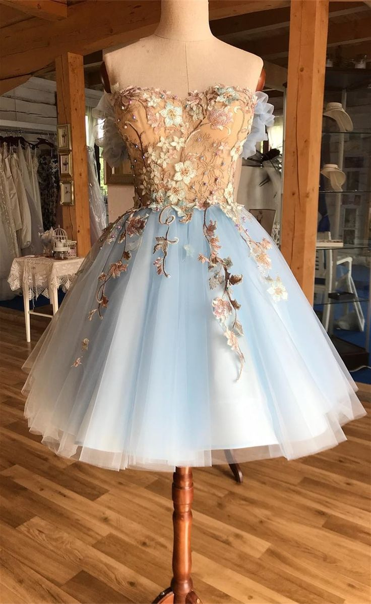 A-Line Off-the-Shoulder Above Knee Light Blue Homecoming Prom Dress with Appliques