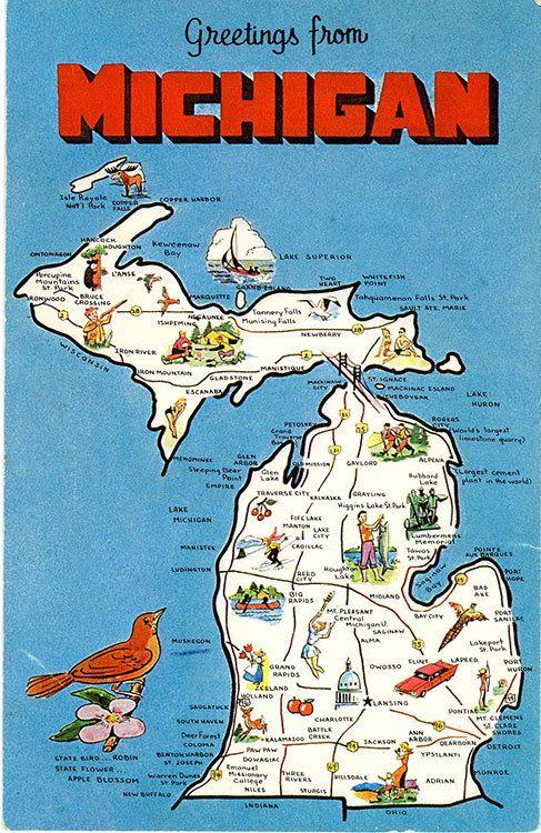 Michigan State Map Water Wonderland Vintage Postcard