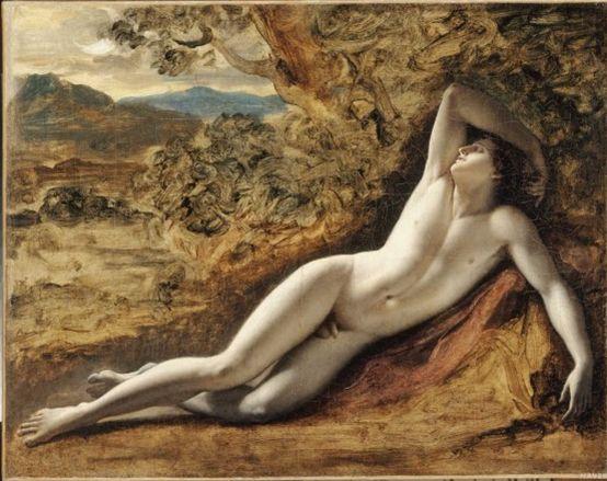 안 루이 지로데 드 루시 트리오종  엔디미온 초안, 1792  캔버스의 유채, 49 x 62 c m  루브르 박물관 소장    미소년 엔디이온의 그림이다.  영원한 절믐을 유지하기 위해 영원한 잠에 빠진 인물  우락부락한 남성성과는 다른 아름다운 남성의 젊음을 보여주고 있다.