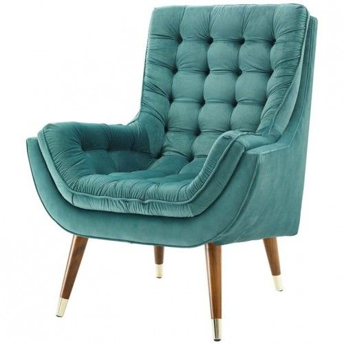 So Comfortable Tufted Velvet Teal Lounge Chair In 2019