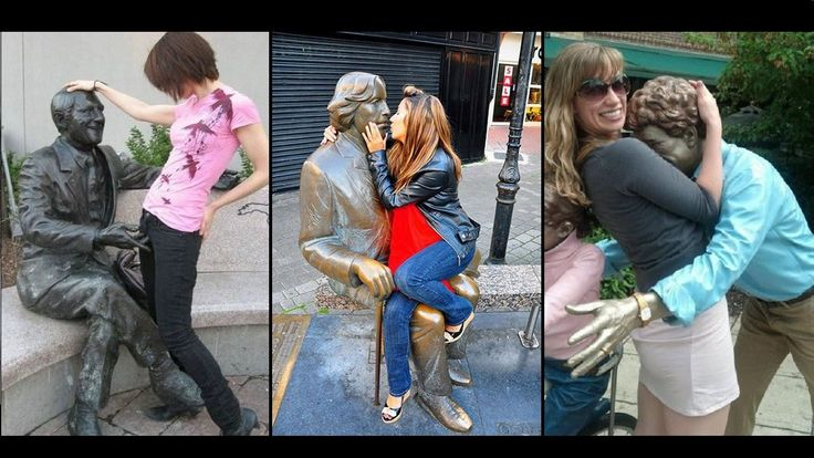 People having Fun with Statues  / Funny Right moment pics