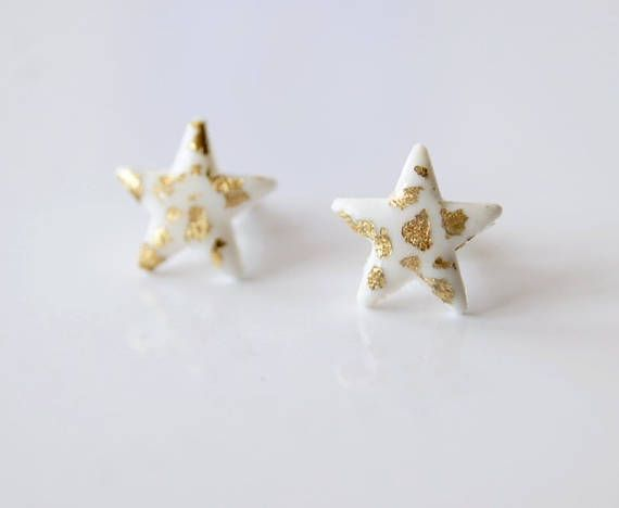White stars stud earrings Tiny stud earrings Bridal earrings