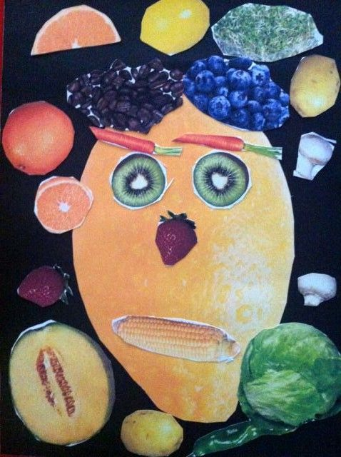 met fruit een gezicht creëren.