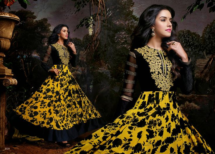Elegant and Graceful Printed Georgette Party Wear Anarkali Suit in Black & Yellow Combination. Comes along with Santoon bottom and matching chiffon dupatta.