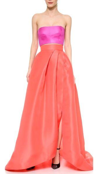 Colorblocking | Monique Lhuillier | love the full-length tulip skirt