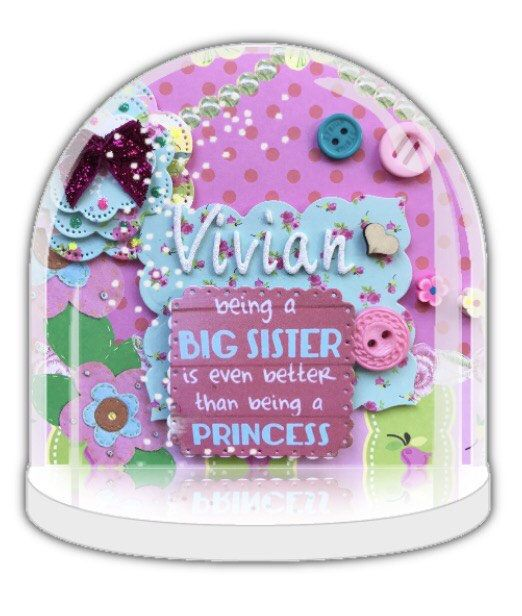 Big sister announcement, big sister gift, baby announcement, future big sister, Snow globe, Personalised snow globe, personalised gift