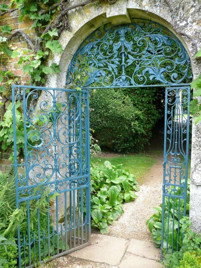 Prussian Blue garden gate.    via gardenista.com