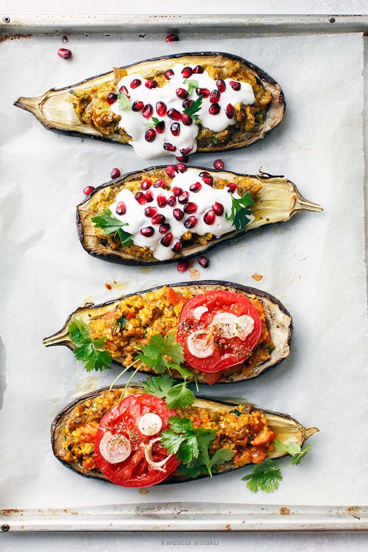 ... eggplant stuffed with lentils and tahini dressing with pomenagrate & yogurt ...