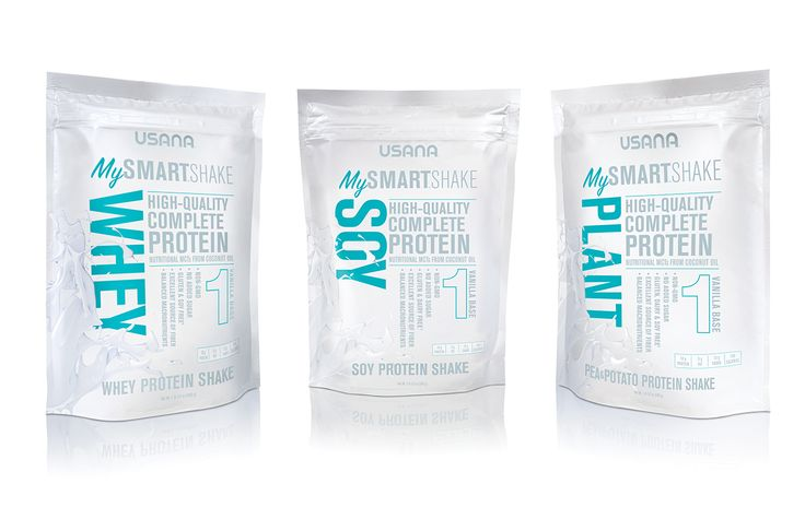 Usana MySmart™.   MySmart Shakes offer three great options: plant, soy, and whey. One serving of each base contains:  18 g protein  150 calories  No added sugar  Soluble/insoluble fiber  Sea salt  #mysmartfoods #usana #mysmartshakes