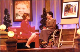 Television interview at the Variety Club Show of Heart's Telethon with the painting I donated to raise funds for British Columbia's special needs kids. 2001