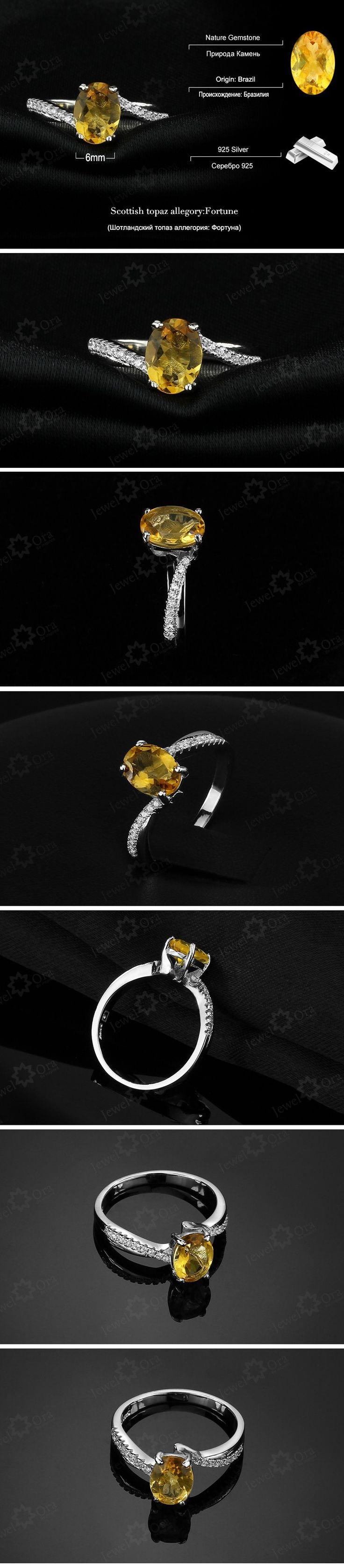 Aliexpress.com : Buy Genuíno 925 anéis de prata para as mulheres do partido Fine Jewelry Amarelo Citrino Natural Ring ( JewelOra RI101282 ) from Reliable anel de couro suppliers on JewelOra