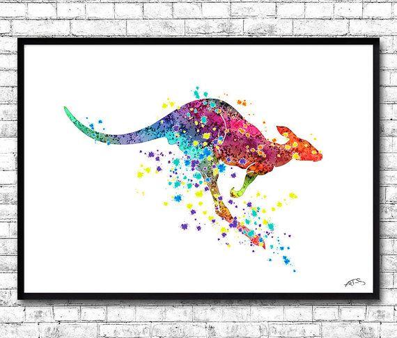 Kangaroo Watercolor print Animal Wall Decor Wall Art by ArtsPrint