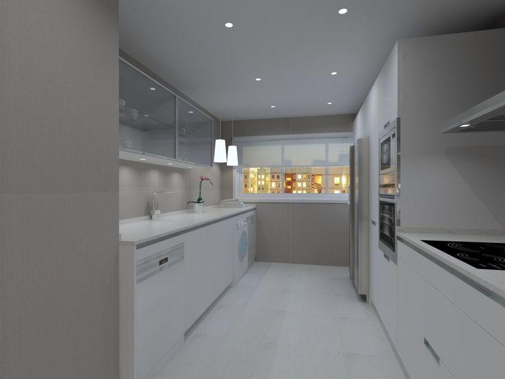Cocinas SANTOS | Modelo MINOS-E  Blanco Seff Estratificado. Proyecto realizado por Aytosa studio para una casa situada en centro de Badajoz.