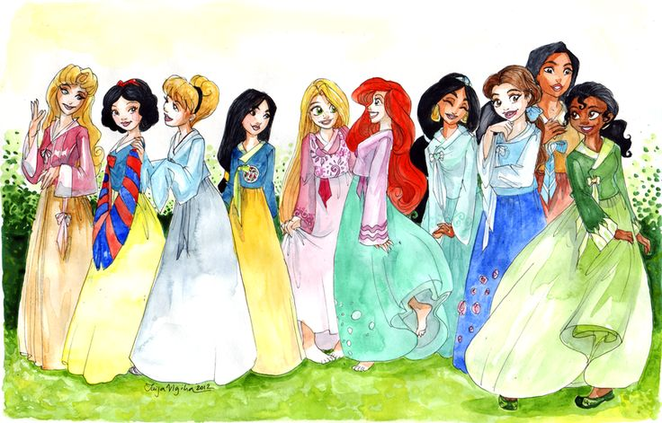 Disney Princesses in hanboks. (For those who didn't know hanboks are these Korean styled dresses that the princesses wear in the drawing.