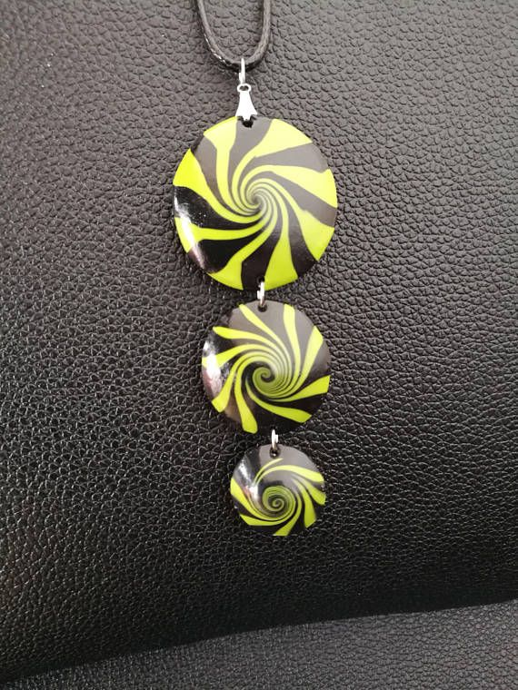 Crazy Kiwi  green and black handmade polymer clay necklace