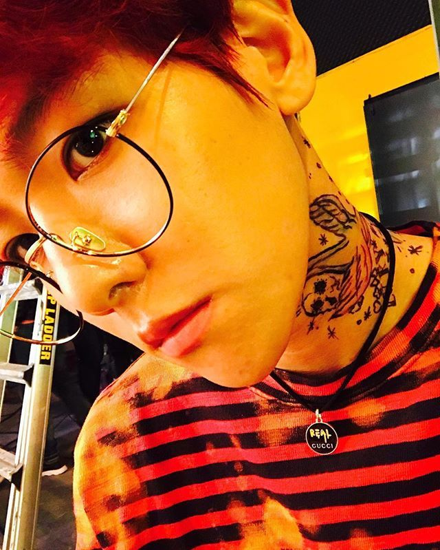 Baekhyun IG Update ❤ comingover (fake lip piercing in monster and now a fake tattoo for coming over. He looks good with anything) #EXO