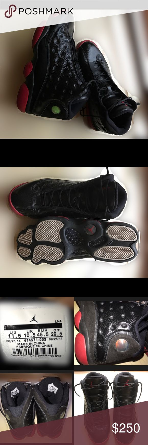 Retro Jordan 13! Worn once! Black & Red leather Air Jordan Retro 13s. Like new! No scratches, scuffs or marks. Almost no visible we on soles. Authentic! Jordan Shoes Sneakers