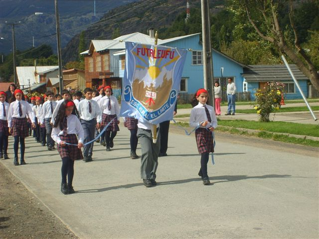 Students parade in Futaleufu   from the Municipality of Futaleufu