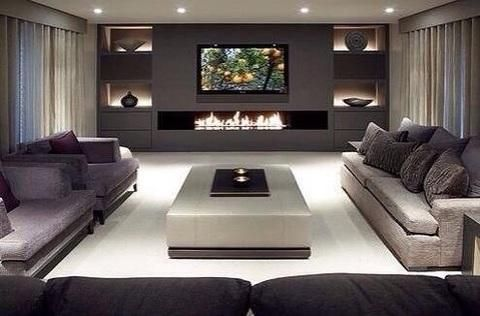 Contemporary Family Room with rectangular built in fireplace