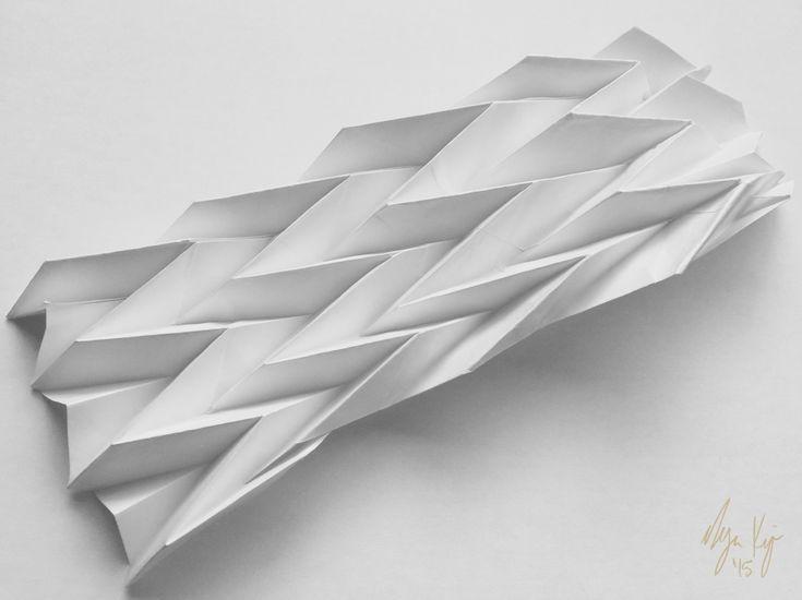 Programmed paper resting (Miura-Ori origami fold study)