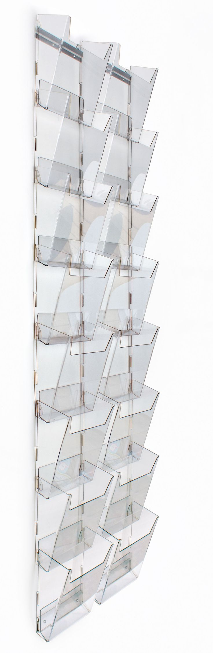 8-Tier Magazine Rack for Wall Mount, 16 Pockets Fit 8.5x11 Catalogs, Full View, Clear