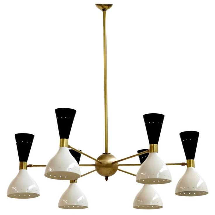 Beautiful and Large Adjustable Italian Chandelier Brass Bi-Color Stilnovo Style | From a unique collection of antique and modern chandeliers and pendants at https://www.1stdibs.com/furniture/lighting/chandeliers-pendant-lights/