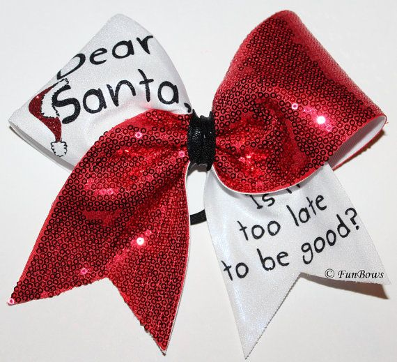 dear santa awesome christmas cheerleading hairbow by funbows bows pinterest cheer bows bows and cheer