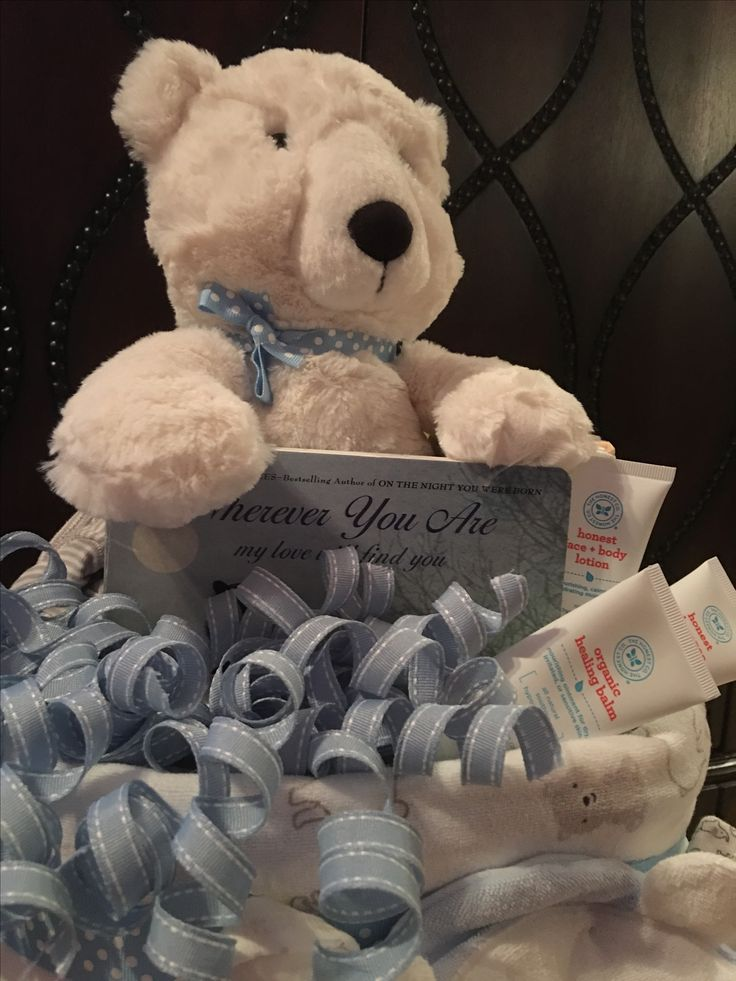 Diaper cake for a baby boy