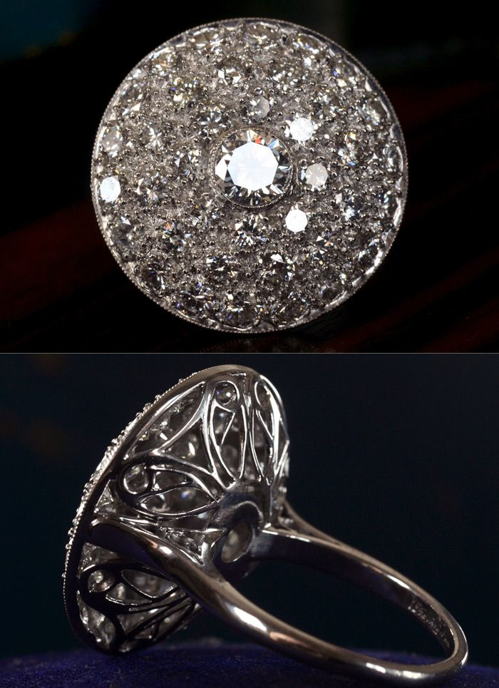 1950s Cluster Cocktail Ring, 0.61ct Brilliant Diamond Center (GIA G/SI1)Approx. 2.70ctw Brilliant Cut Diamond Sides (F-G/VS-SI)Platinum Filigree
