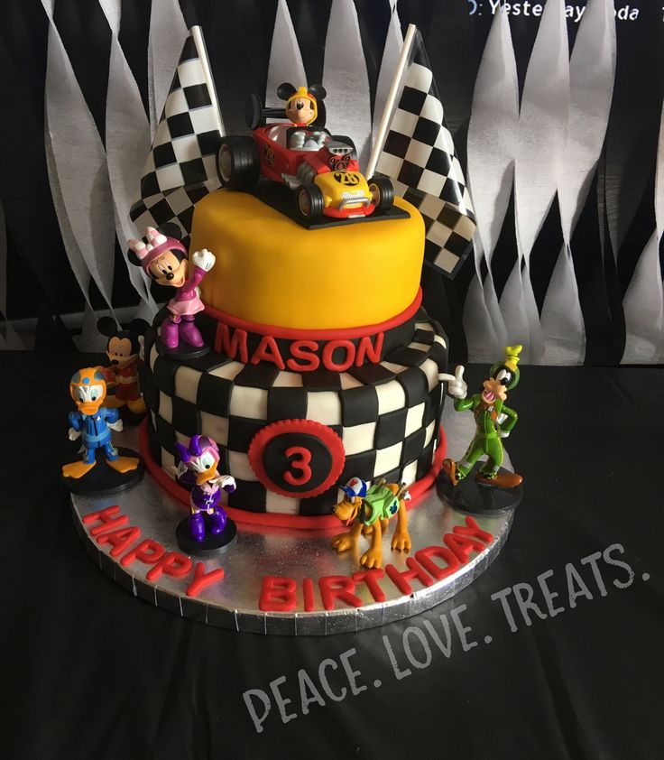 Mickey and the Roadster Racers birthday cake!! Made by Peace. Love. Treats. www.facebook.com/peacelovetreats